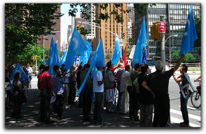 demonstration against Han Chinese treatment of Uygurs