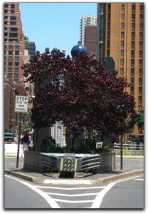Raoul Wallenberg Memorial from 1st Ave. heading north (obscured if not completely hidden)