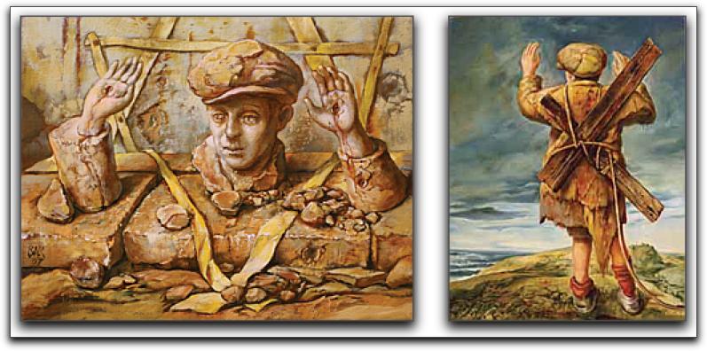 Shmuel Bak paints the boy with hands raised