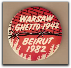 laple button comparing Warsaw Ghetto in 1942 with Beirut in 1982