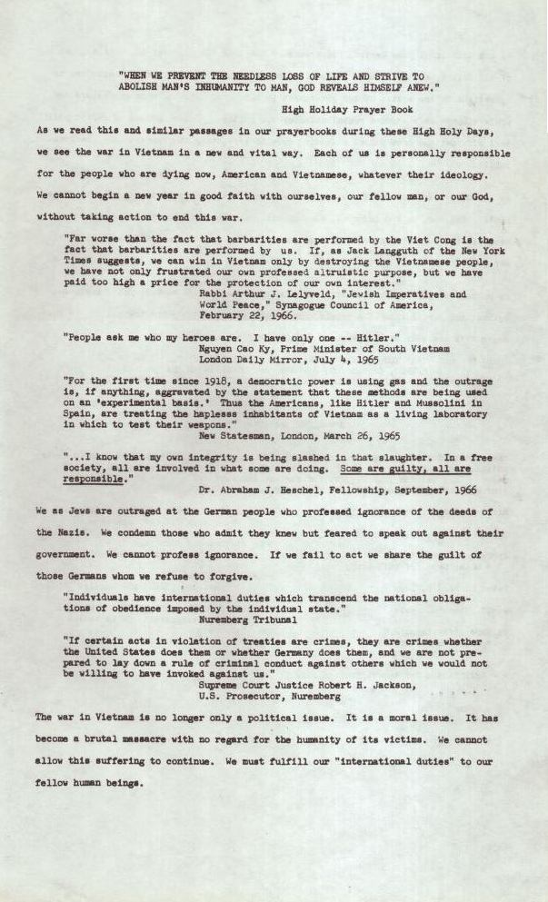 The Hurvitz Family's Yom Kippur Leaflet calling for an end to the war in Vietnam (1966)